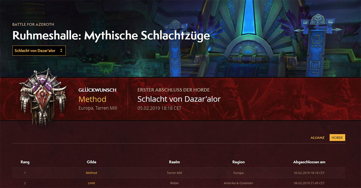 Hall of Fame - Schlacht um Dazar'alor (Horde)
