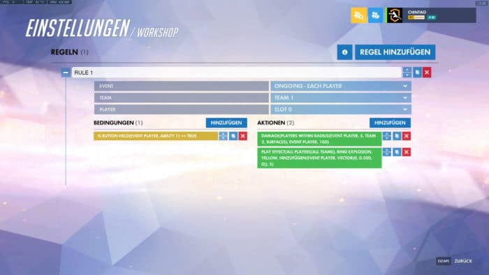 Overwatch Workshop Tracer AOE Schaden Einstellungen