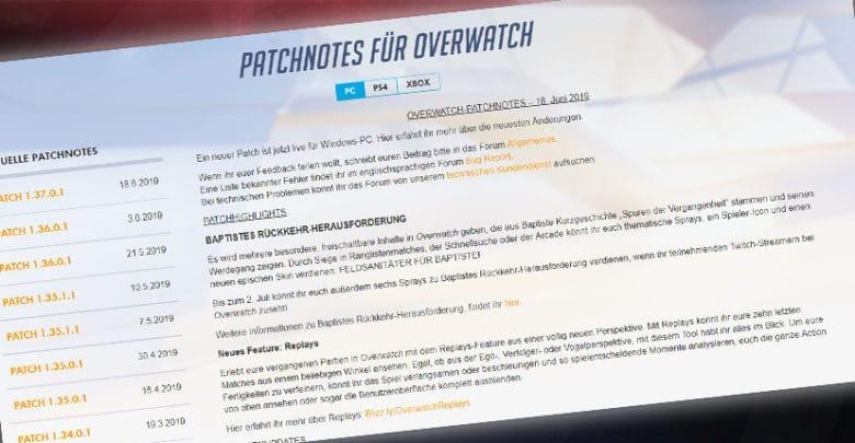 Overwatch Patch 1.37 Patchnotes vom 18. Juni