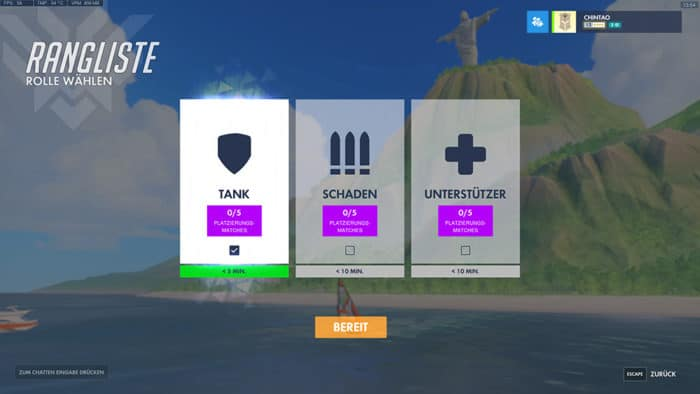 Overwatch Role queue Anmeldung Tank