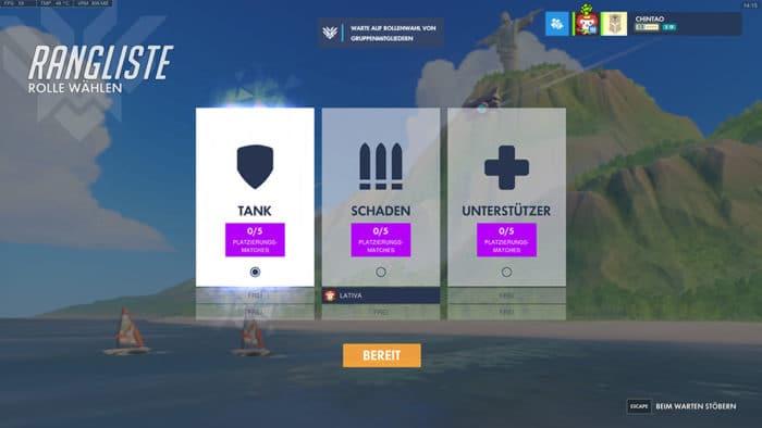 Overwatch Role queue Anmeldung in Gruppe