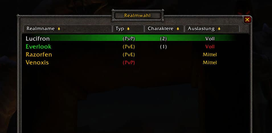 Charakterbeschränkung auf WoW Classic-Realms