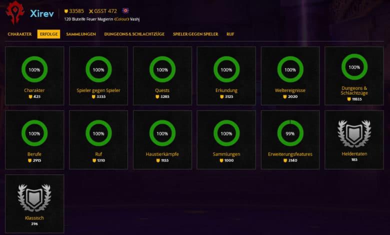 Profil von Xirev - Alle WoW-Erfolge freigeschaltet
