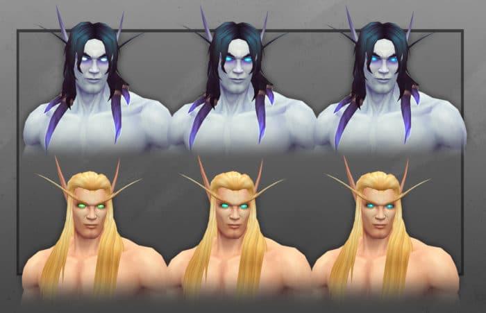 Blaue Augen bei Blutelfen und Leerenelfen (Männliche Charaktere)