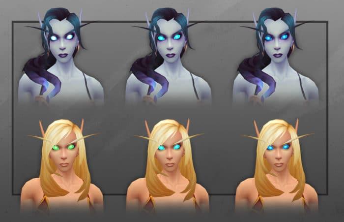 Blaue Augen bei Blutelfen und Leerenelfen (Weibliche Charaktere)